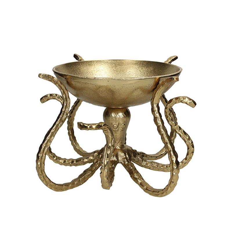 Διακοσμητικό Μπολ Αλουμινίου Χρυσό 'Octapus' 31.5x31.5x20 | ZAROS