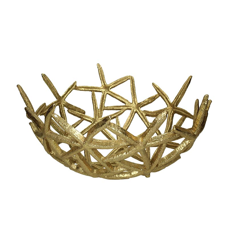 Διακοσμητικό Μπολ Αλουμινίου Χρυσό 'Starfish' 36x18.6 | ZAROS