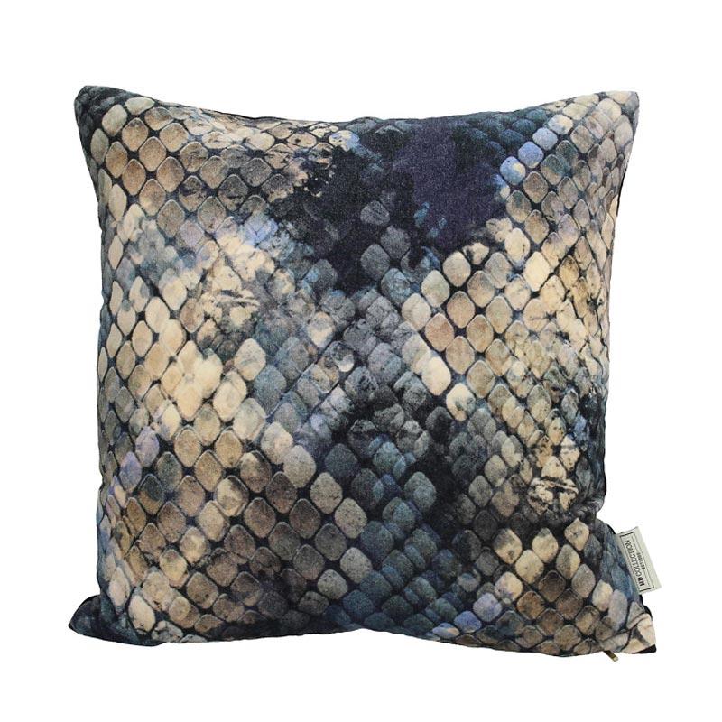 Διακοσμητικό Μαξιλάρι Βελούδινο Μπλε/ Χρυσό 'Snake' 45x45 | ZAROS