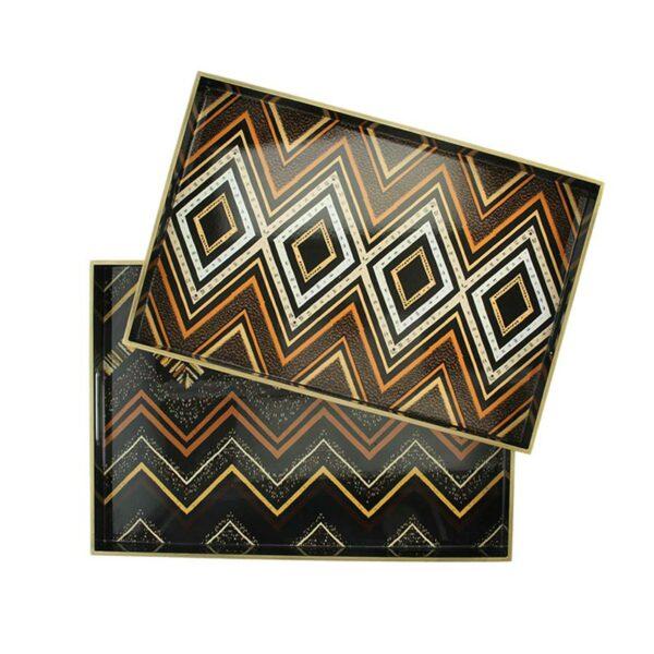 Δίσκοι Σερβιρίσματος Καφέ/ Μαύρο Με Γεωμετρικά Σχήματα, Σετ Των 2 | ZAROS