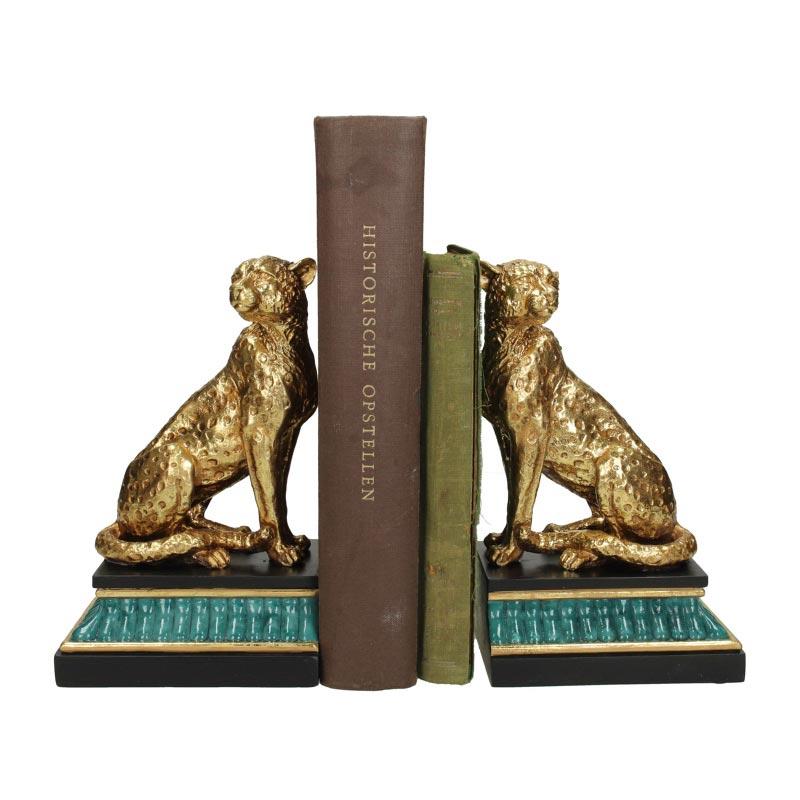 Βιβλιοστάτες Μπλε/ Μαύρο/ Χρυσό Λεοπάρδαλη 24x10.5x20 | ZAROS