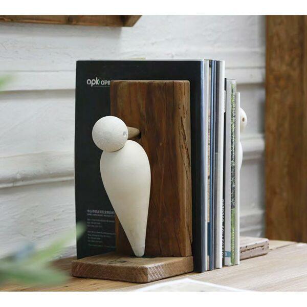 Βιβλιοστάτες Ξύλινοι Natural/ Λευκό 'Γλάροι' 24x12x25.5 | ZAROS