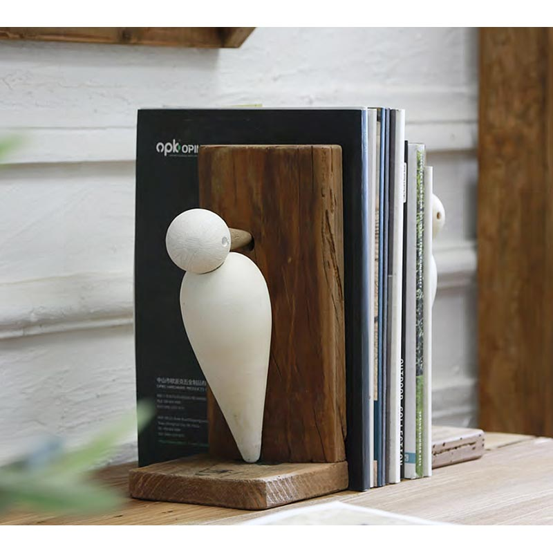 Βιβλιοστάτες Ξύλινοι Natural/ Λευκό 'Γλάροι' 24x12x25.5   ZAROS