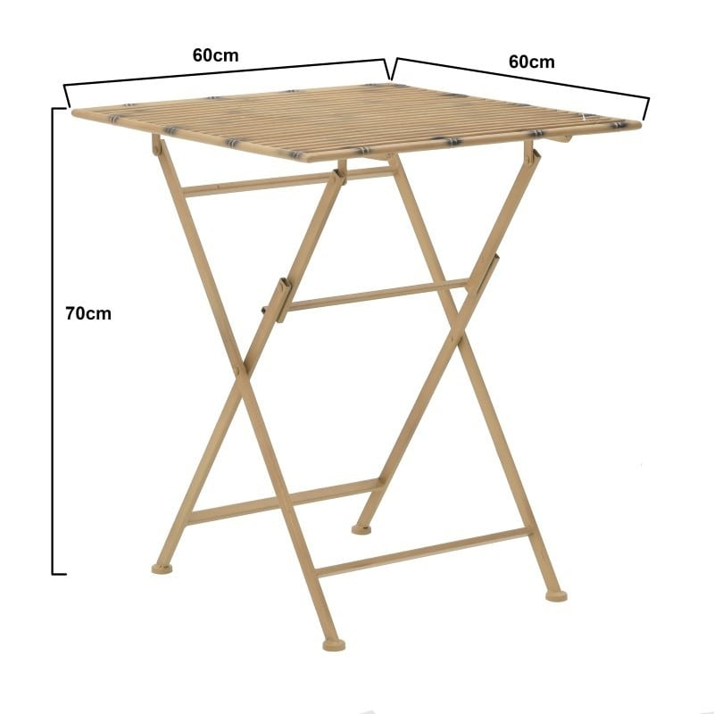 Τραπέζι Πτυσσόμενο Τετράγωνο Μεταλλικό Χρυσό 60x60x70, Inart