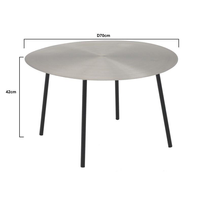 Τραπέζι Σαλονιού Στρόγγυλο Μεταλλικό Ασημί/ Μαύρο 70x70x42, Inart