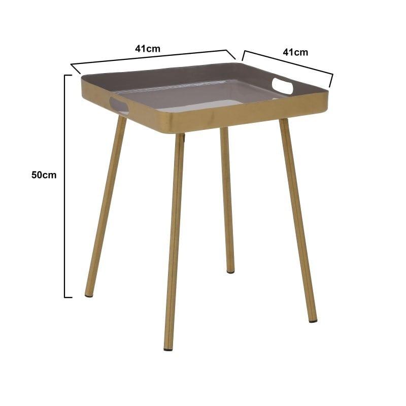 Τραπέζι Σαλονιού Με Δίσκο Μεταλλικό Καφέ/ Χρυσό 41x41x50, Inart