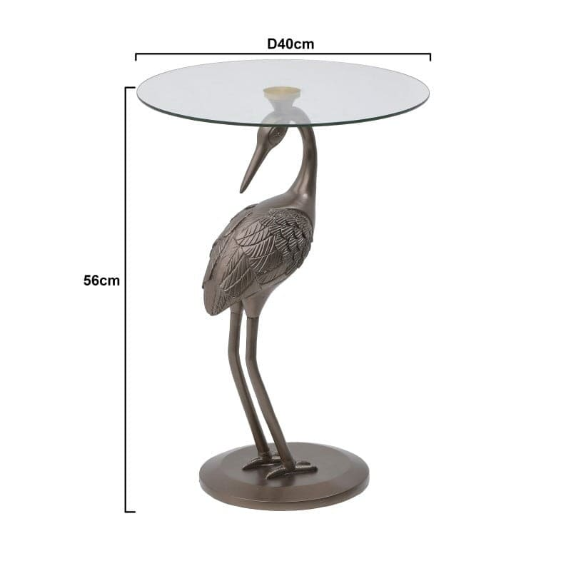 Τραπέζι Βοηθητικό Με Γυάλινη Επιφάνεια Μπρονζέ 'Γερανός' 40x40x56, Inart