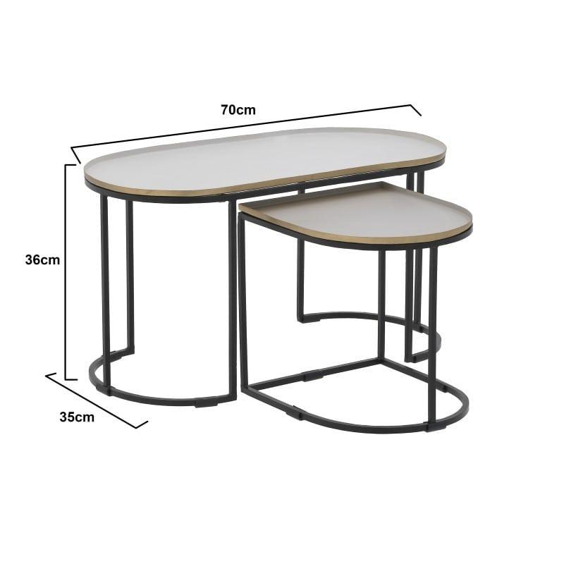 Τραπέζι Μεταλλικό Μαύρο/ Εκρού, Σετ Των 2, Inart