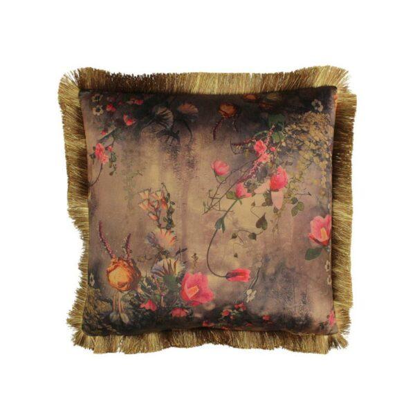 Διακοσμητικό Μαξιλάρι Βελούδινο Με Κρόσσια Καφέ/ Χρυσό 'Floral' 45x45 | ZAROS