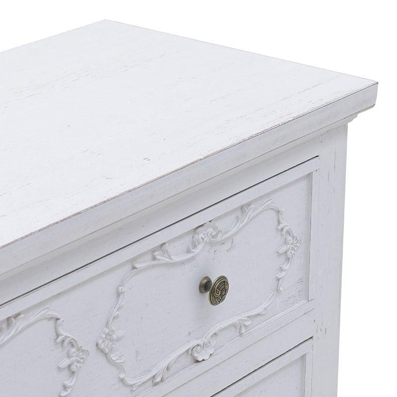 Συρταριέρα Ξύλινη 3θέσια Αντικέ Λευκή 80x35x80cm, Inart