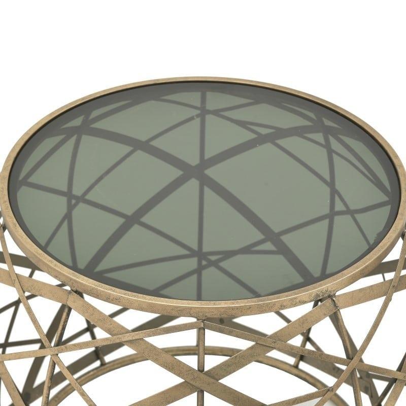 Τραπέζια Βοηθητικά Γυάλινα/ Μεταλλικά Μαύρο/ Χρυσό 'Grid', Σετ Των 2, Inart
