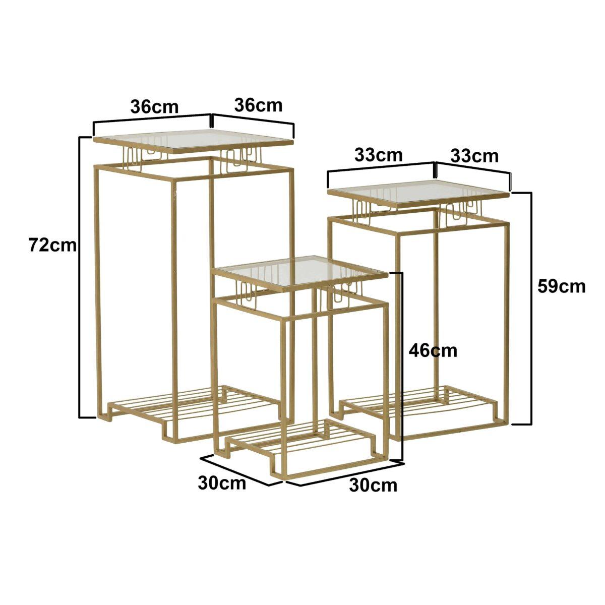 Τραπέζια Τετράγωνα Γυάλινα/ Μεταλλικά Χρυσά, Σετ Των 3, Inart