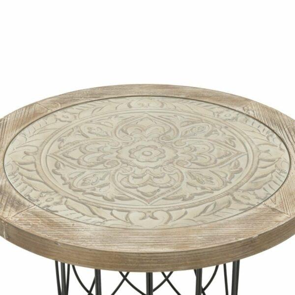 Τραπέζι Τραπεζαρίας Αντικέ Ξύλινο Natural Με Μεταλλικό Μαύρο Σκελετό 80x80x58, Inart