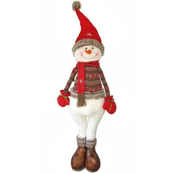 Χιονάνθρωπος Υφασμάτινος Κόκκινο/ Λευκό 58x34x140cm