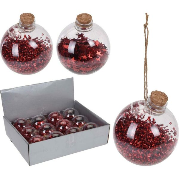 Χριστουγεννιάτικες Μπάλες Διάφανη/ Κόκκινη Με Φελλό, Σετ Των 2