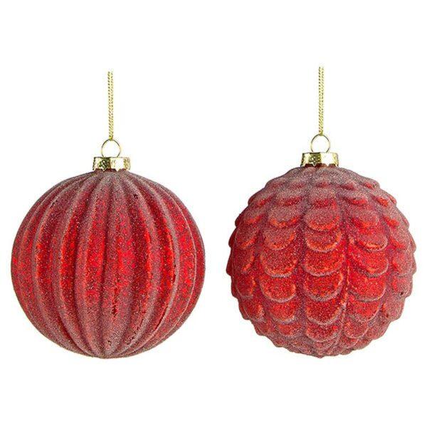 Χριστουγεννιάτικη Μπάλα Γυάλινη Κόκκινη Δ10, Σε 2 Σχέδια, Σετ Των 2