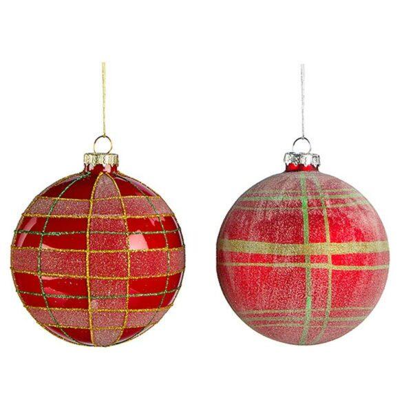 Χριστουγεννιάτικη Μπάλα Γυάλινη Κόκκινη Δ10cm, Σε 2 Σχέδια, Σετ Των 2