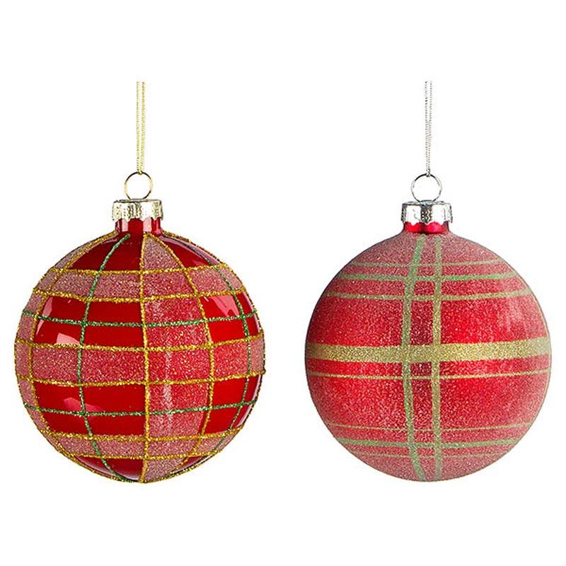 Χριστουγεννιάτικη Μπάλα Γυάλινη Κόκκινη Δ8cm, Σε 2 Σχέδια, Σετ Των 2