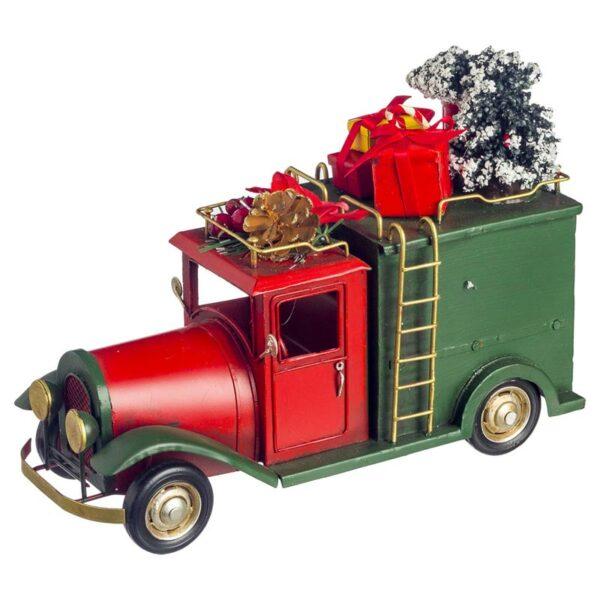 Χριστουγεννιάτικο Διακοσμητικό Αμάξι Μεταλλικό Κόκκινο 25x11x21cm