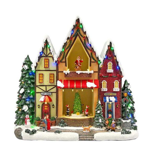 Χριστουγεννιάτικο Σπιτάκι Φωτιζόμενο Με Κίνηση 49x18x35cm