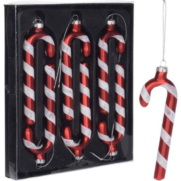 Χριστουγεννιάτικο Στολίδι Μπαστούνι Κόκκινο/ Λευκό Υ12cm, Σετ Των 6