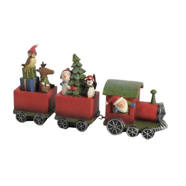 Χριστουγεννιάτικο Τρενάκι Κεραμικό Κόκκινο, Σετ Των 2