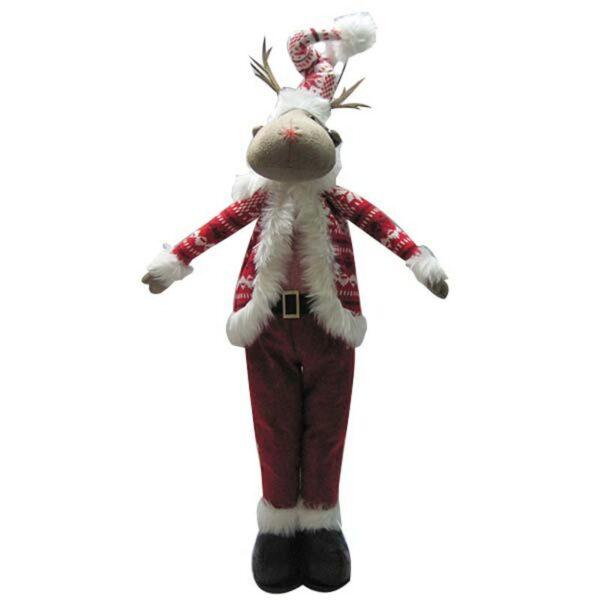 Χριστουγεννιάτικος Διακοσμητικός Τάρανδος Υφασμάτινος Κόκκινο/ Λευκό Υ59cm