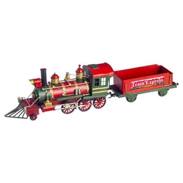 Διακοσμητικό Τρενάκι Μεταλλικό Κόκκινο/ Πράσινο 50x9x13cm