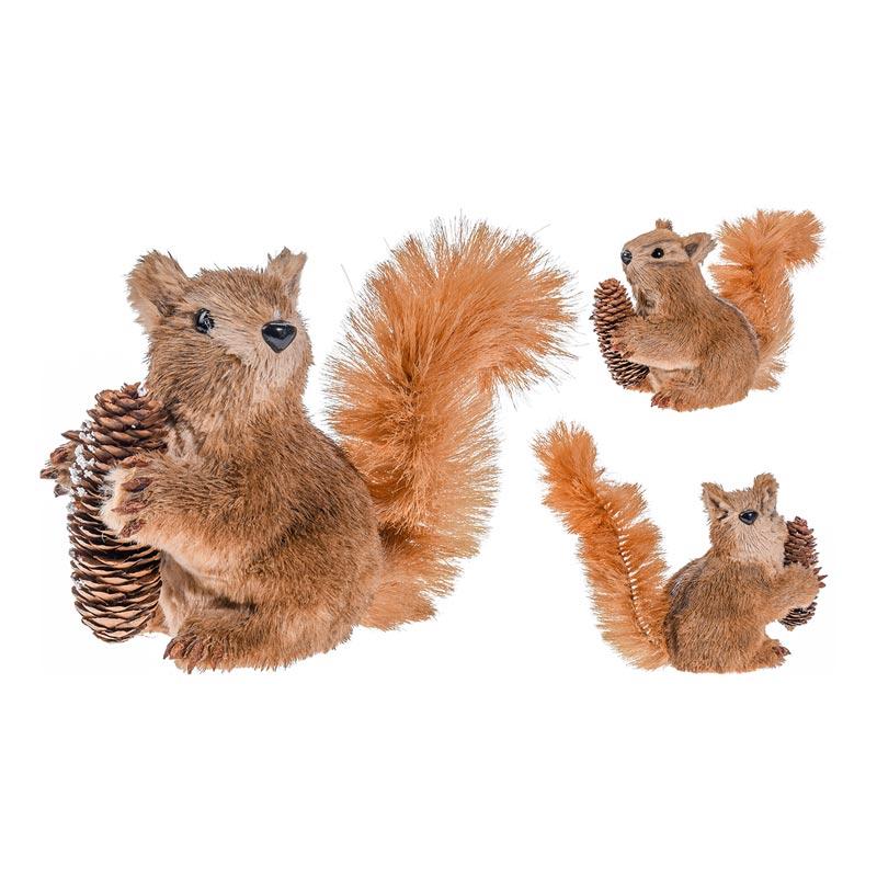 Διακοσμητικός Σκίουρος Με Κουκουνάρι Καφέ 29x10x16, Σετ Των 2
