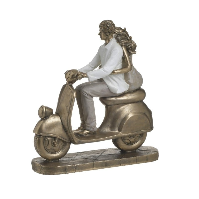 Επιτραπέζιο Διακοσμητικό Polyresin Μπρονζέ 'Vespa Time' 21x9x23, Inart