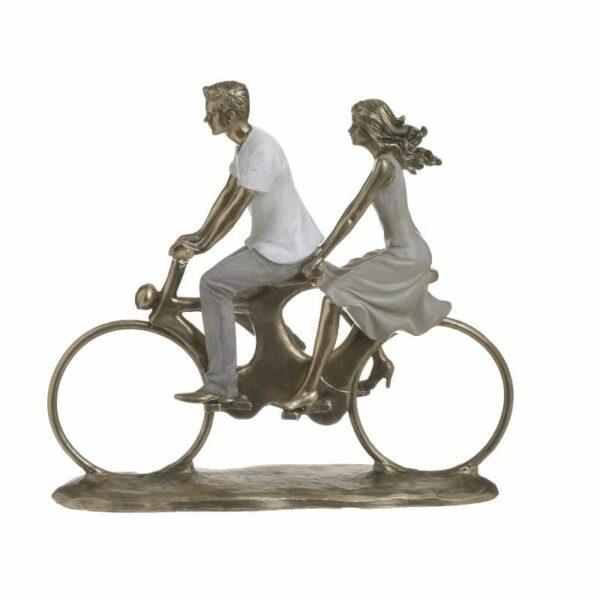 Επιτραπέζιο Διακοσμητικό Polyresin Μπρονζέ 'Bike Walk' 28x9x26, Inart