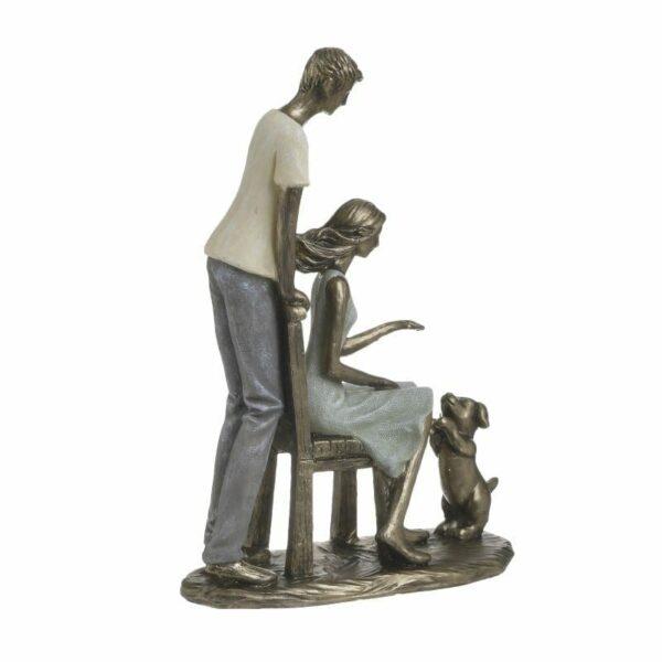 Επιτραπέζιο Διακοσμητικό Polyresin Μπρονζέ 'Playing With Dog' 18x8x25, Inart