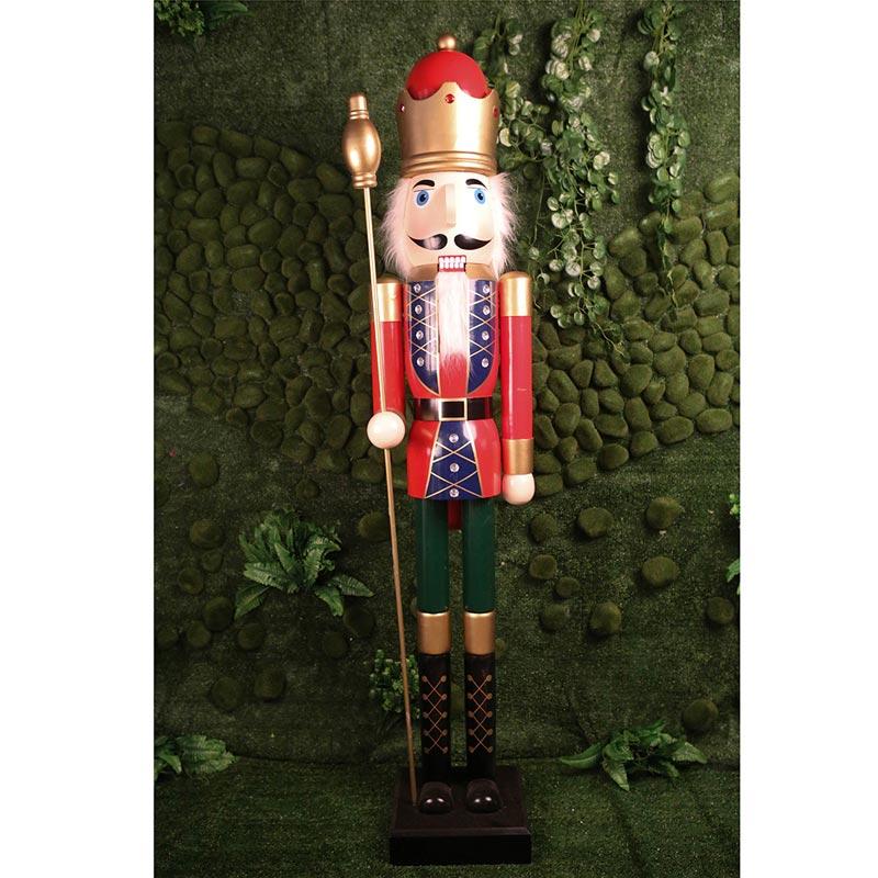 Καρυοθραύστης Ξύλινος Κόκκινο/ Πράσινο Με Στέμμα Y120cm