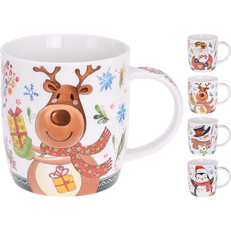 Κούπες Κεραμικές Σε Χριστουγεννιάτικα Σχέδια, Σετ Των 4