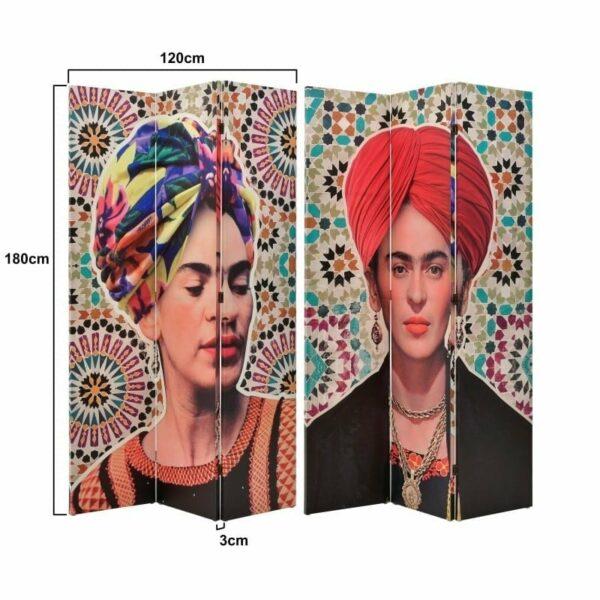Παραβάν 2 Όψεων Σε Καμβά Μαύρο/ Κόκκινο 'Frida Kahlo' 120x3x180, Inart