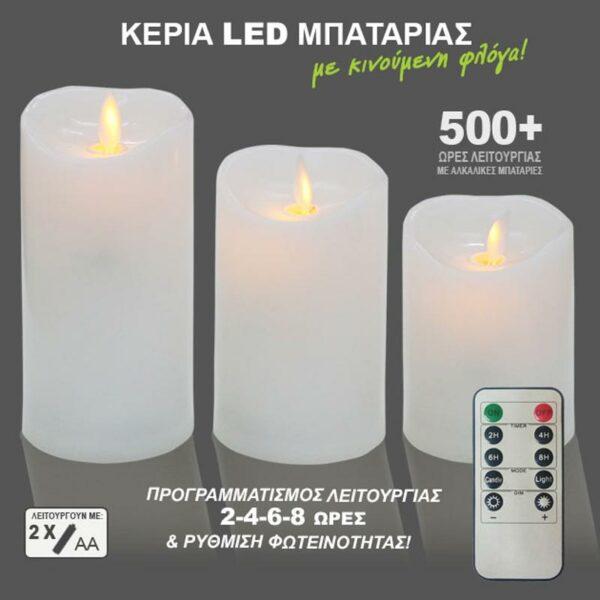 Διακοσμητικά Κεριά Λευκά Με Led Μπαταρίες Και Τηλεχειριστήριο, Σετ Των 3