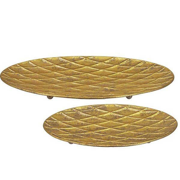 Διακοσμητική Πιατέλα Αντικέ Μεταλλική Χρυσή 55.5x35x4.5cm, Σετ Των 2