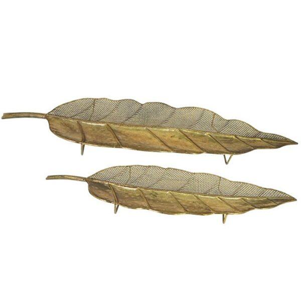 Διακοσμητική Πιατέλα Αντικέ Μεταλλική Χρυσή 'Φύλλα' 26.5x92.5x6cm, Σετ Των 2