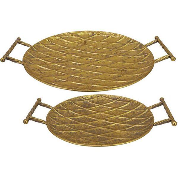 Διακοσμητική Πιατέλα Με Λαβές Αντικέ Μεταλλική Χρυσή 53.5x43.5x7cm, Σετ Των 2