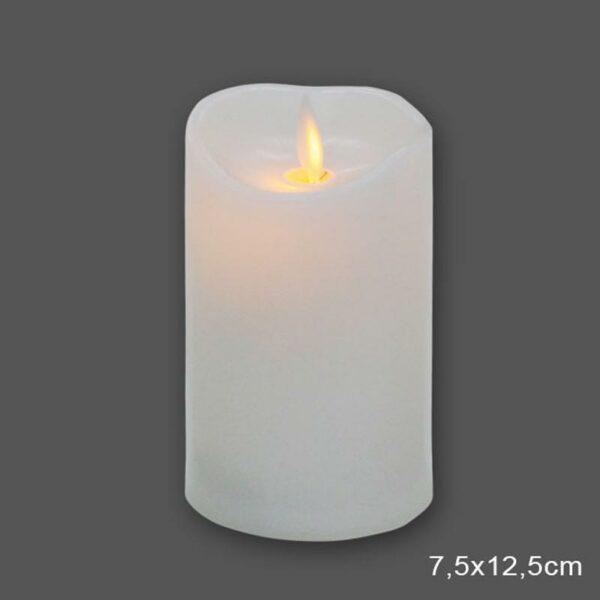 Διακοσμητικό Κερί Λευκό Με Led Μπαταρίες Και Κινούμενη Φλόγα 7.5x12.5cm