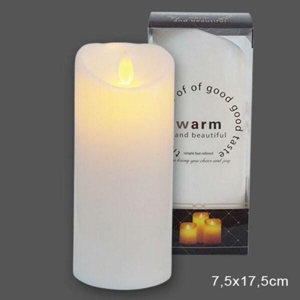 Διακοσμητικό Κερί Λευκό Με Led Μπαταρίες Και Κινούμενη Φλόγα 7.5x17.5cm
