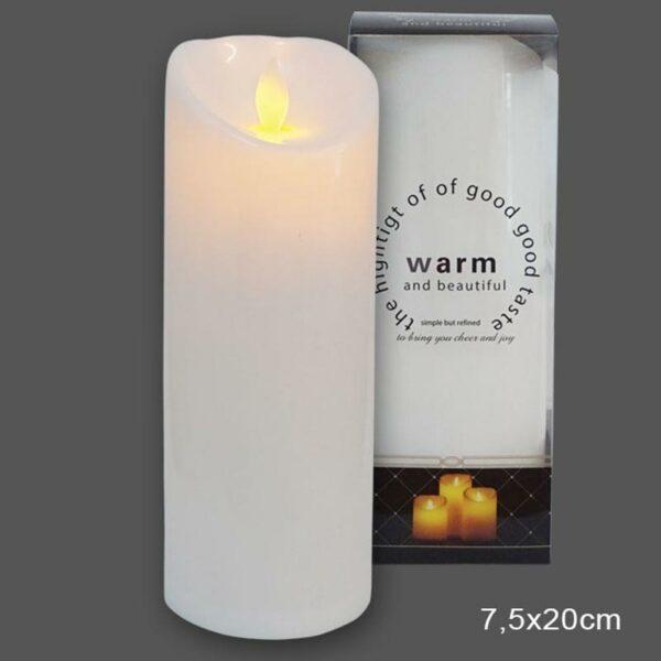 Διακοσμητικό Κερί Λευκό Με Led Μπαταρίες Και Κινούμενη Φλόγα 7.5x20cm