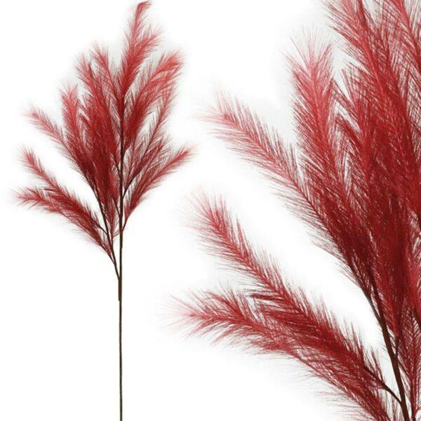 Διακοσμητικό Κλαδί Με Κόκκινα Πούπουλα Υ113cm
