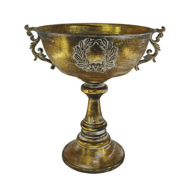 Επιτραπέζιος Διακοσμητικός Αμφορέας Μεταλλικός Αντικέ Χρυσό 42x35x44cm