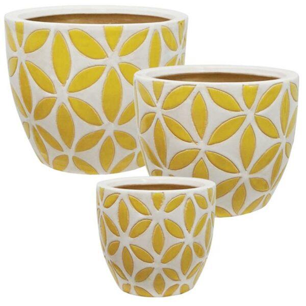 Κασπώ Κεραμικά Στρόγγυλα Κίτρινο/ Λευκό, Σετ Των 3