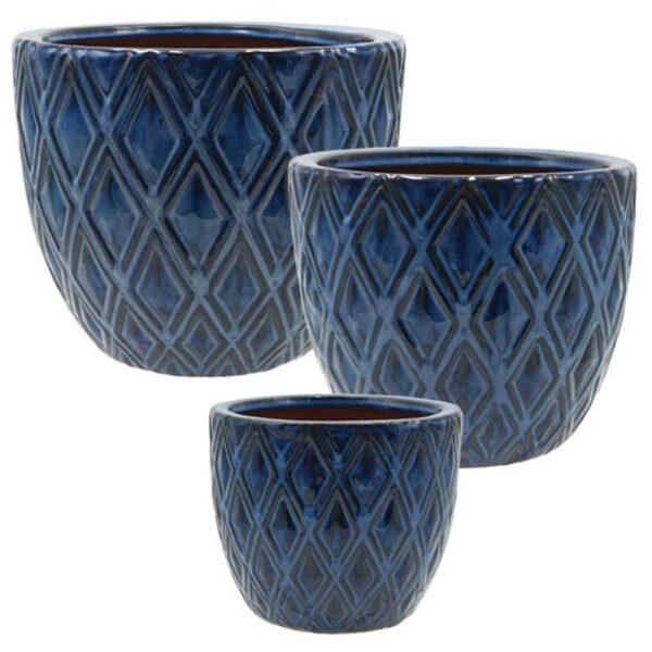 Κασπώ Κεραμικά Υαλωμένα Στρόγγυλα Μπλε 'Rhombuses', Σετ Των 3