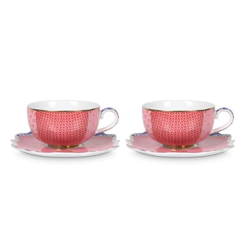 PIP Φλυτζάνια Και Πιατάκια Espresso 'Royal Tableware' Ροζ 125ml, Σετ Των 2