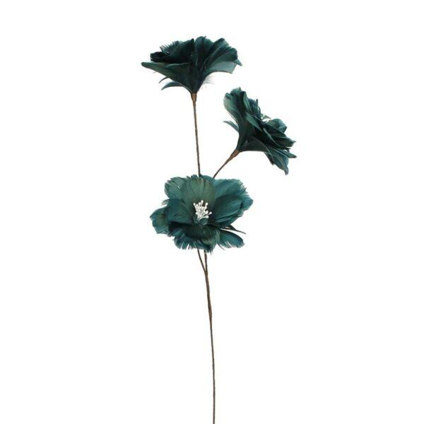 Διακοσμητικό Κλαδί Με 3 Λουλούδια Από Φτερά Μπλε Υ75 | ZAROS