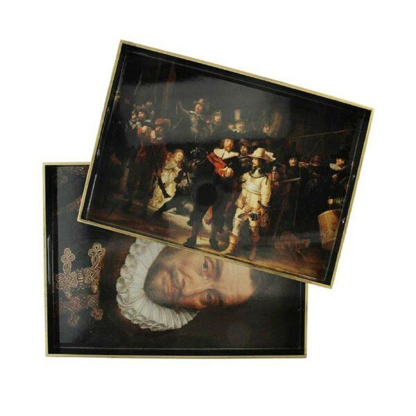 Δίσκοι Σερβιρίσματος Μαύρο/ Χρυσό 'Έργα Του Rembrandt' 35×50cm, Σετ Των 2 | ZAROS