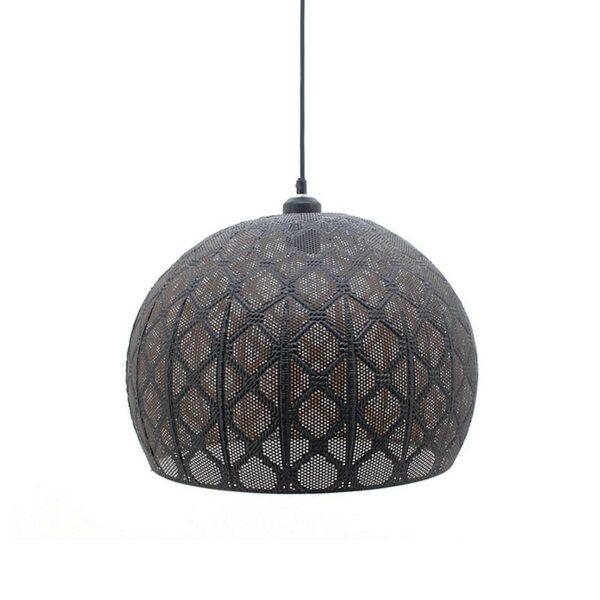 Φωτιστικό Οροφής Μονόφωτο Μεταλλικό Μαύρο Διάτρητο 40x34cm | ZAROS